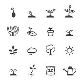 sprout icons, mono vector symbols