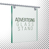 Square Advertising Glass Board. 3D Vector Realistic Illustration. Empty Glass Frame For Images