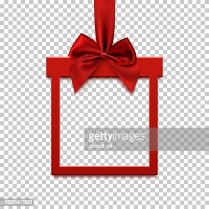 Square banner in form of gift with red ribbon and bow. : Arte vetorial