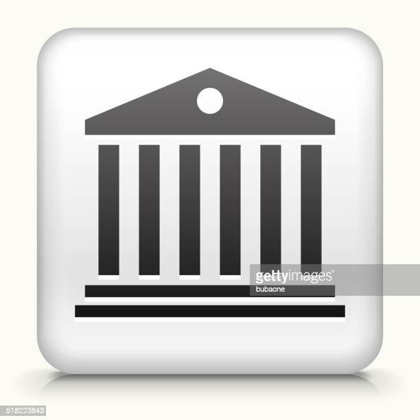 Square Button with Bank Building royalty free vector art