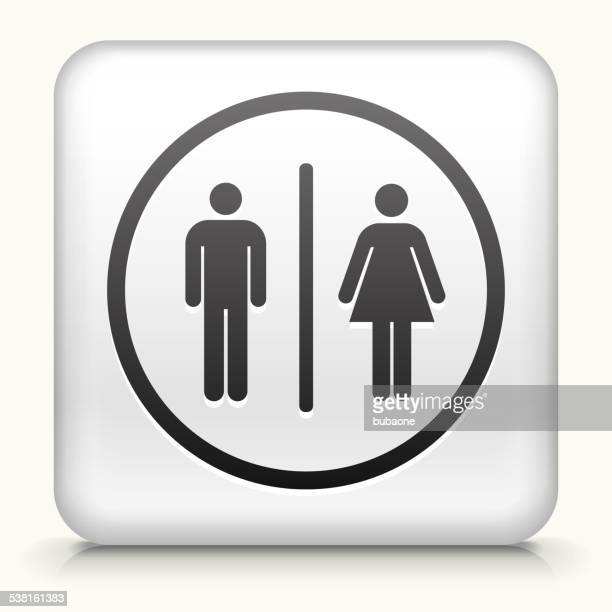 Square Button with Bathroom Sign royalty free vector art