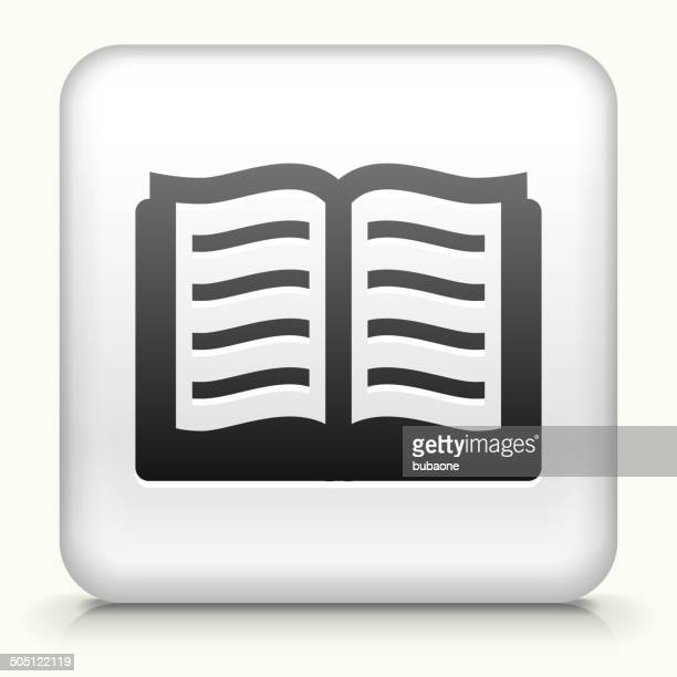 Square Button with Book royalty free vector art
