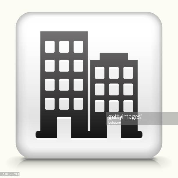 Square Button with Buildings royalty free vector art