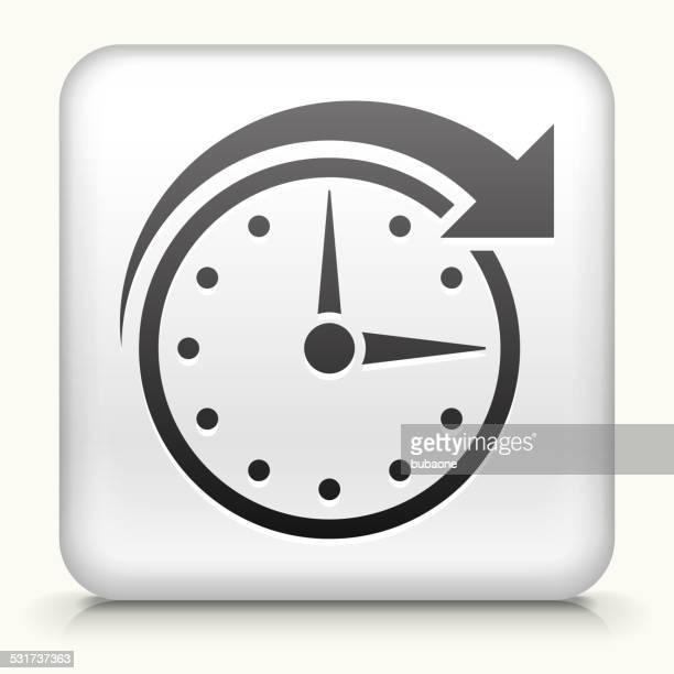 Pulsante quadrato con orologio tempo di arte vettoriale royalty-free
