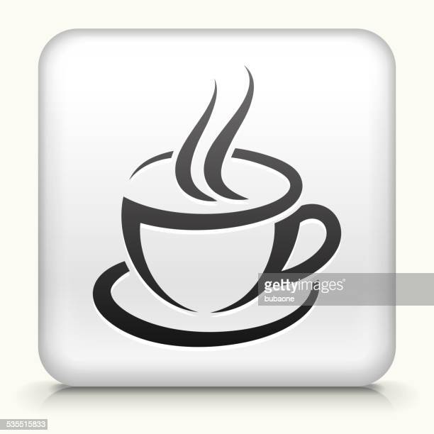 Square Button with Coffee Cup royalty free vector art