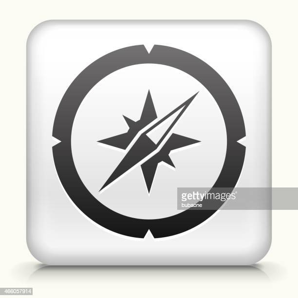 Square Button with Compass royalty free vector art