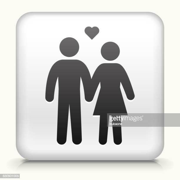 Square Button with Couple royalty free vector art