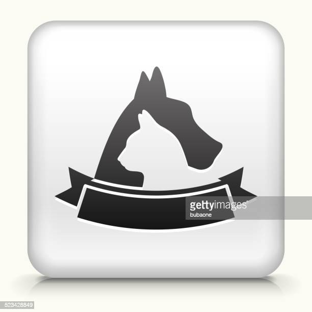 Square Button with Dog & Cat Badge