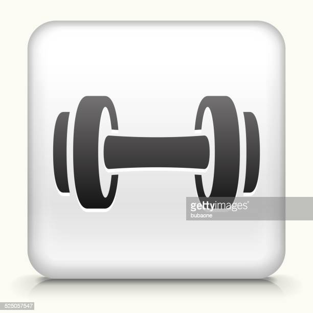 Square Button with Dumbbell royalty free vector art