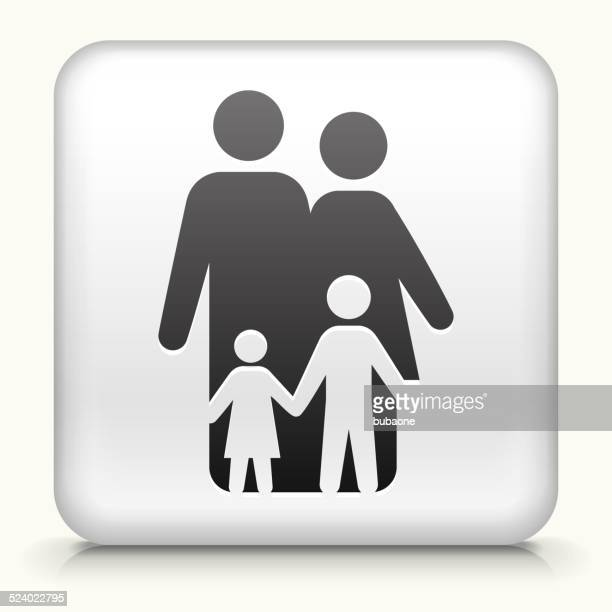 Square Button with Family royalty free vector art