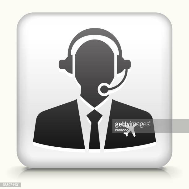 Square Button with Flight Control royalty free vector art