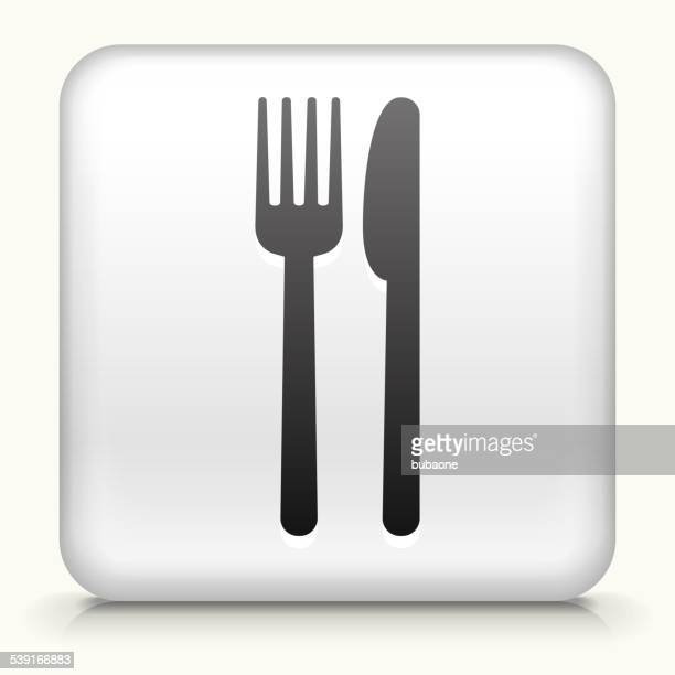 Square Button with Fork & Knife royalty free vector art