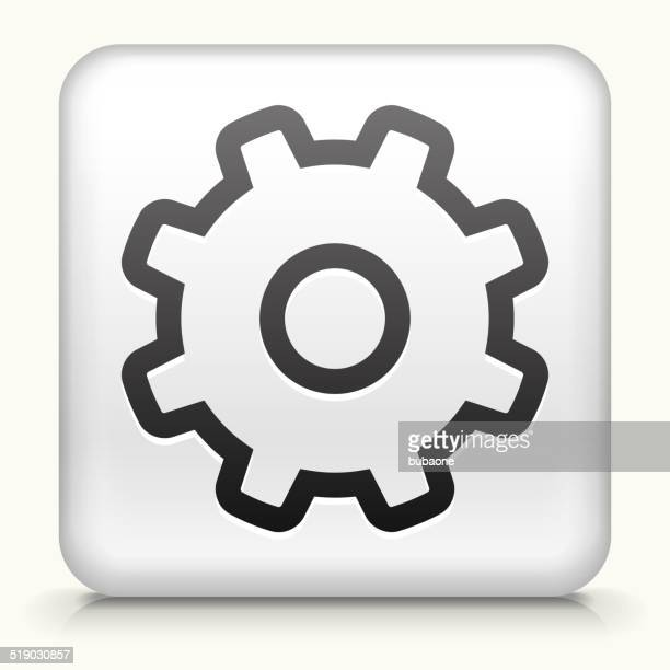 Square Button with Gear royalty free vector art