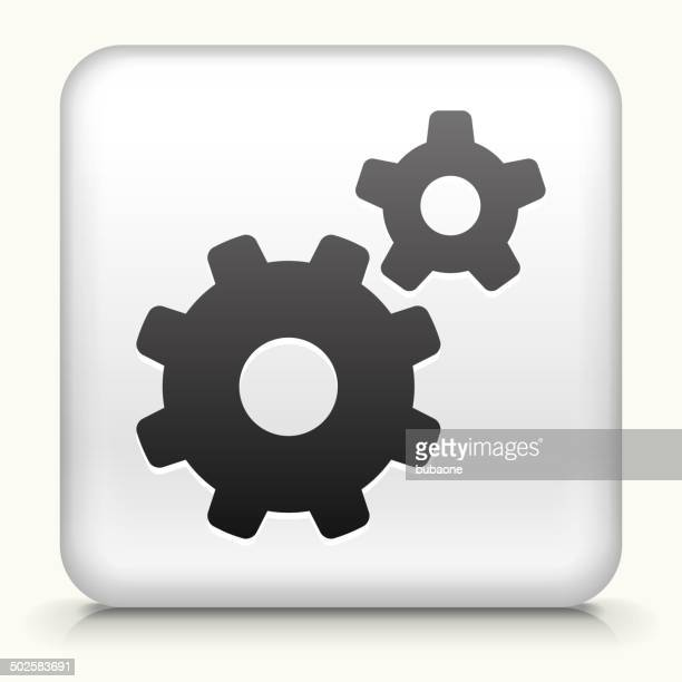 Square Button with Gears royalty free vector art