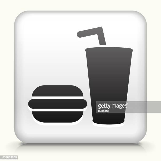 Square Button with Hamburger & Soda