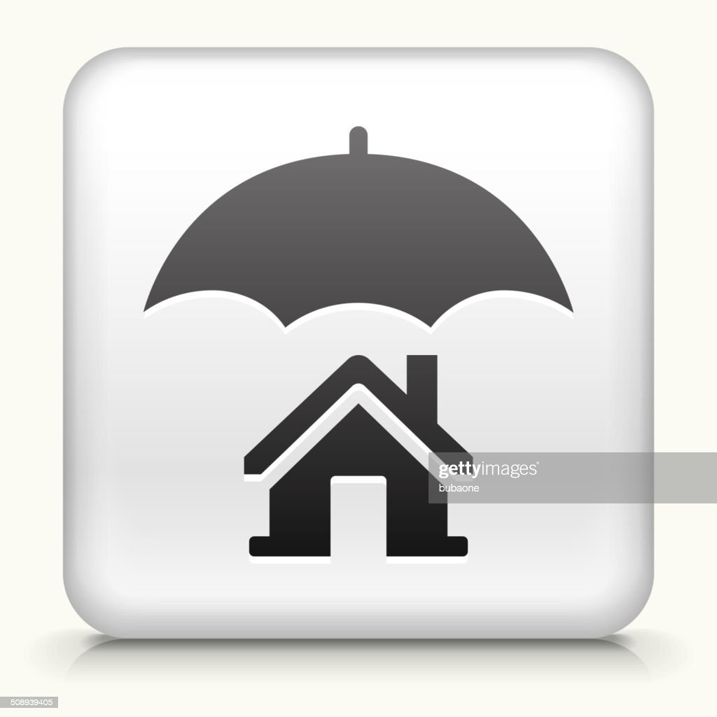 White Square Button With Home Insurance Icon Vector Art ...