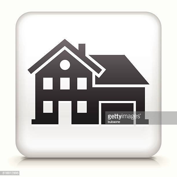 Square Button with Home royalty free vector art