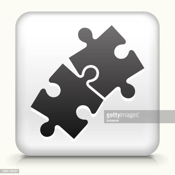 Square Button with Jigsaw royalty free vector art