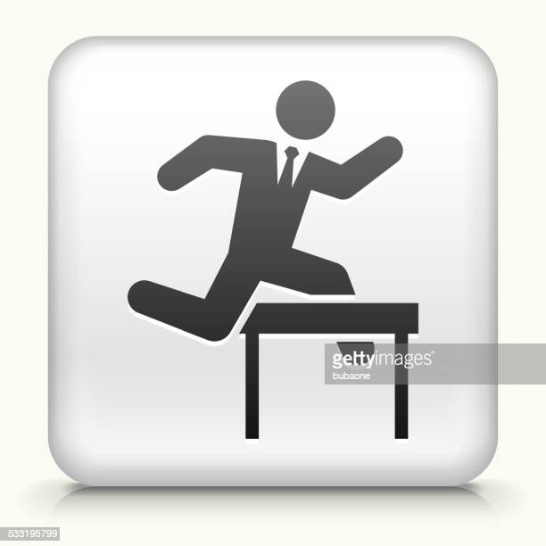 Square Knopf mit springen Hindernisse Geschäftsmann