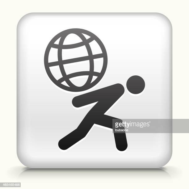 Square Button with Man Carrying Globe royalty free vector art