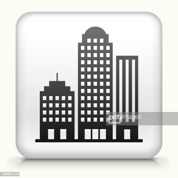 Square Knopf mit Bürogebäuden Lizenzfreie Vektorgrafiken