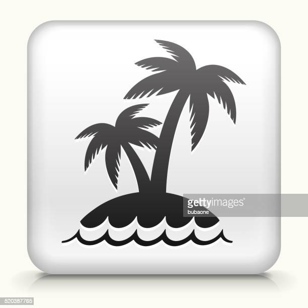 Square Button with Palm Tree Island
