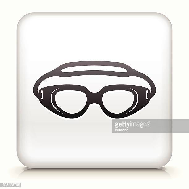 Square Button with Swimming Goggles royalty free vector art