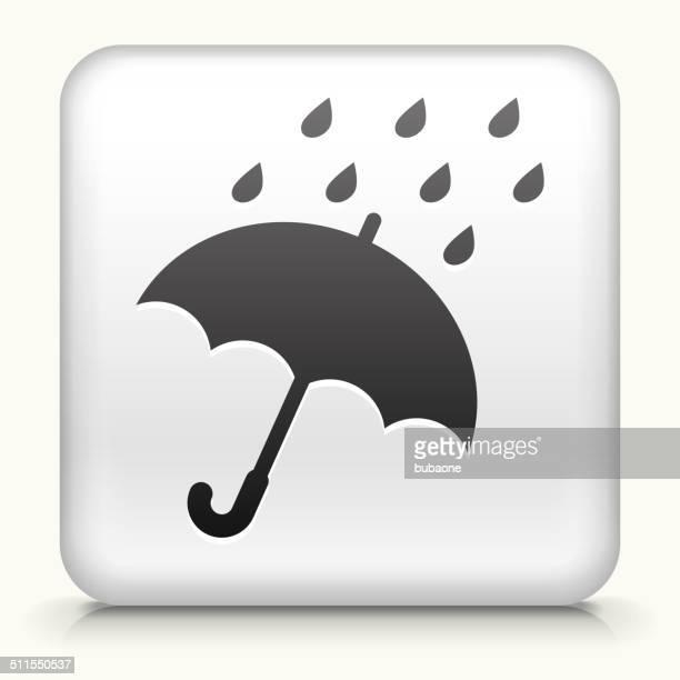 Botón cuadrado con paraguas de lluvia &