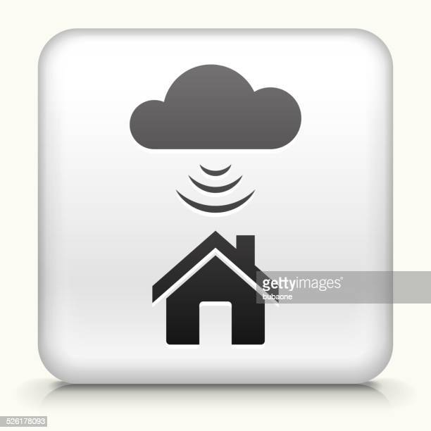 Square Button with Wi-Fi House