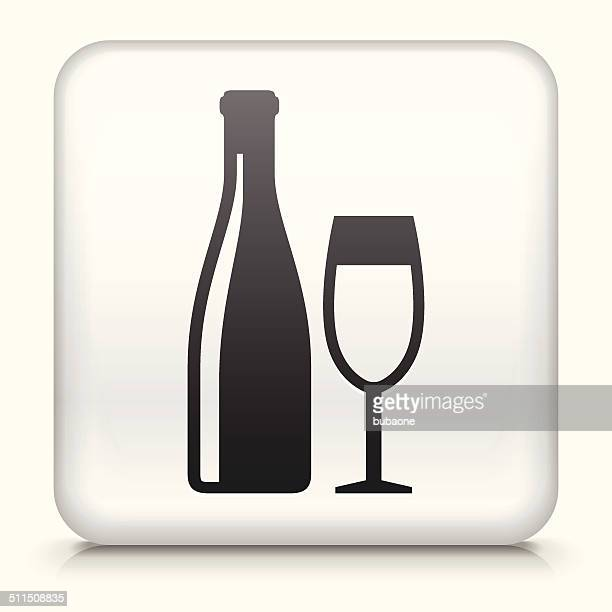 Square Button with Wine and Glass
