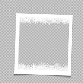 Christmas square photo frame with snow and shadow on transparent background. Photograph empty blank holiday celebration template. Retro memory picture