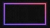 eps10. Square Purple and red neon light on a transparent background. Neon frame for your design. Vector illustration.