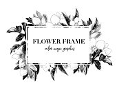 square white frame with lettering decorated with flowers, sketch vector graphics monochrome illustration on white background