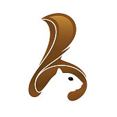 Vector icon design. Squirrel head with tail and negative space on white background.