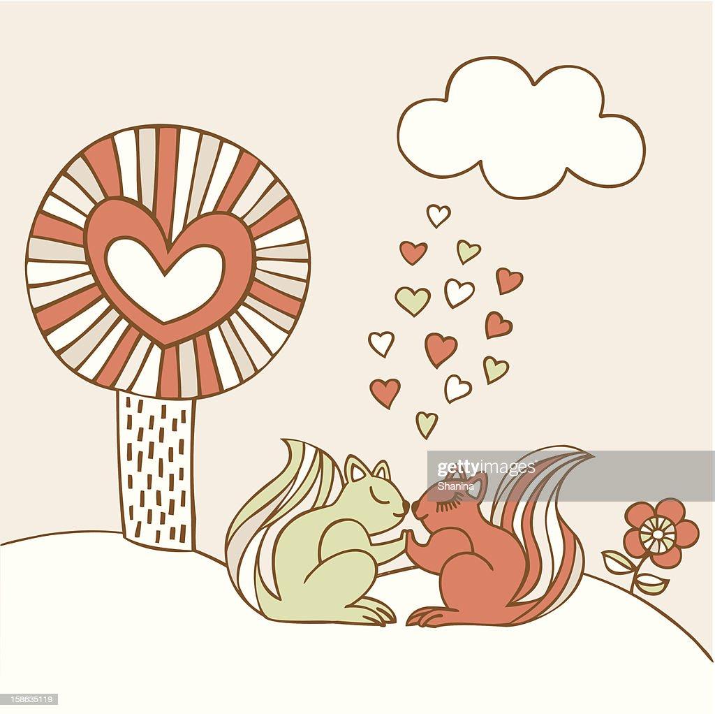Squirrels in Love : Vector Art