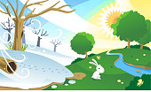 Sseason change, from winter to spring. With happy bunny in a green sunny field. Vector illustration cartoon.