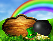 St. Patrick s Day symbol pot gold coins leprechaun hat and rainbow with wooden board for your design Vector illustration