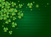 St Patricks day background design of clover leaves with copy space vector illustration