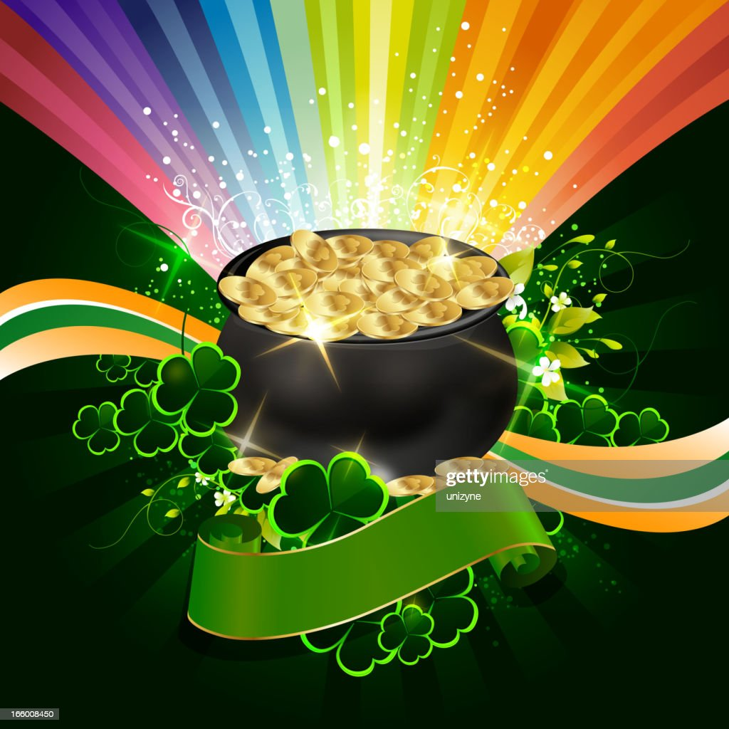 st patricks day background with pot of gold coins vector art