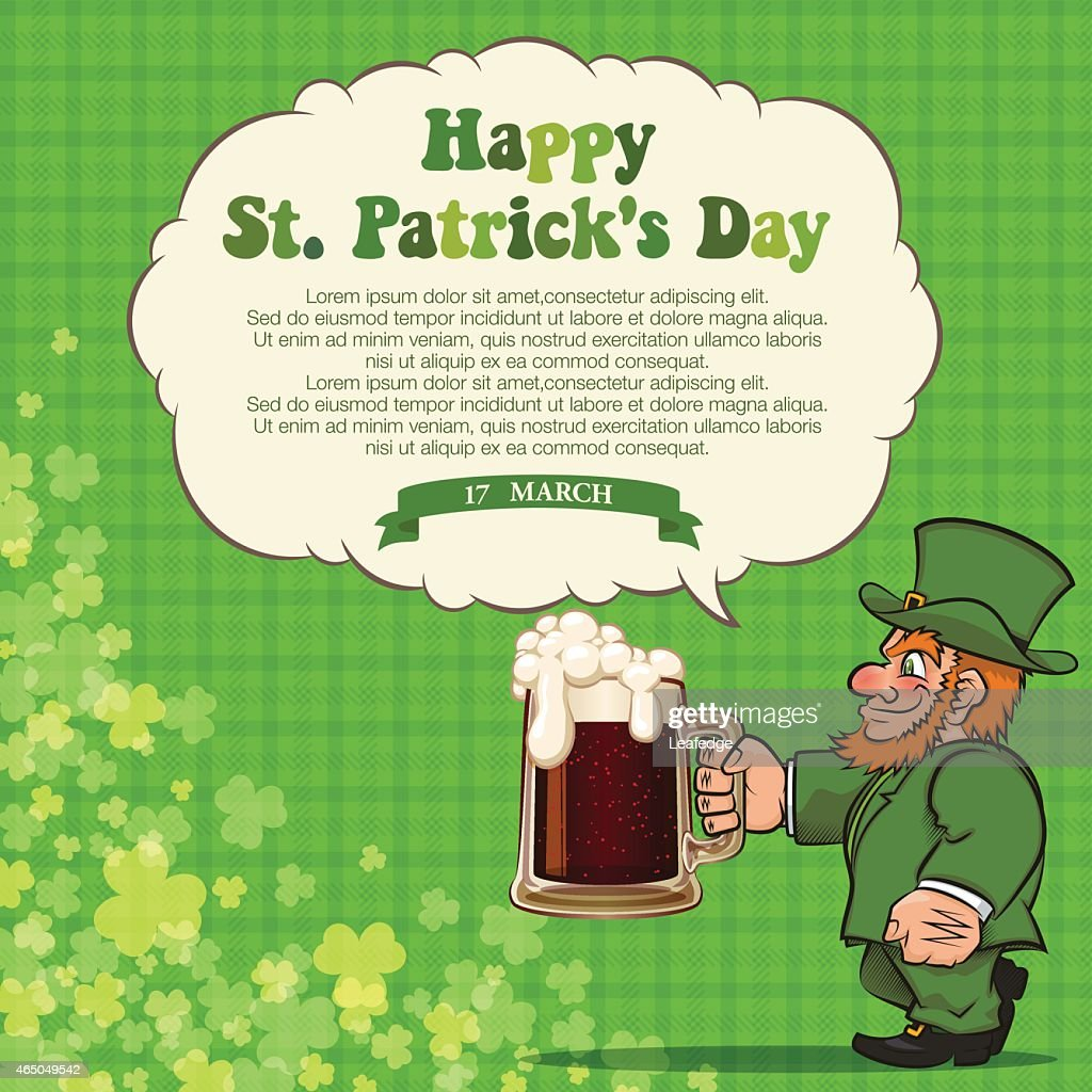 st patricks day backgroundleprechaun and beer vector art getty