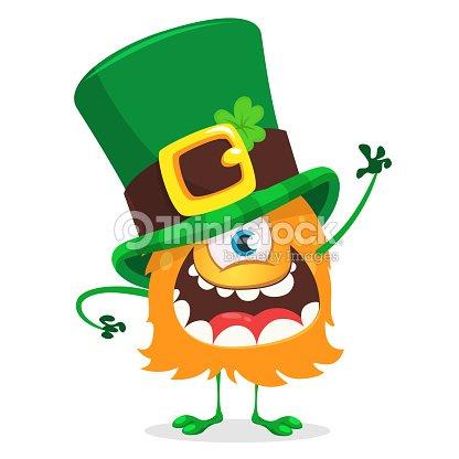 Día de San Patricio. Dibujos animados de un monstruo ojo con sombrero  irlandés con un trébol de cuatro hojas 93569943cca