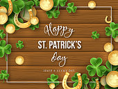 St. Patricks Day background. Clover leaves, golden horseshoes and coins on wooden texture for greeting holiday design. Vector illustration.