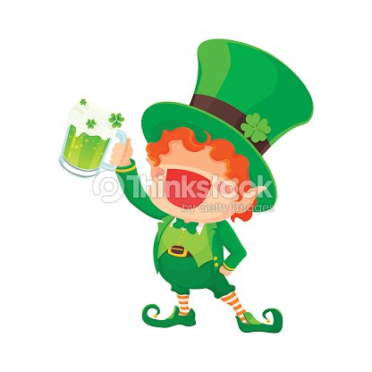 St Patricks Tag Glücklich Kobold Hält Bier Vektorgrafik | Thinkstock