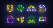 St. Patrick's Day icon set isolated. Patrick's Day neon sign. Horseshoe, Clover, Rainbow, Gold coin, Beer, Flag Ireland and Calendar icon. Vector Illustration.