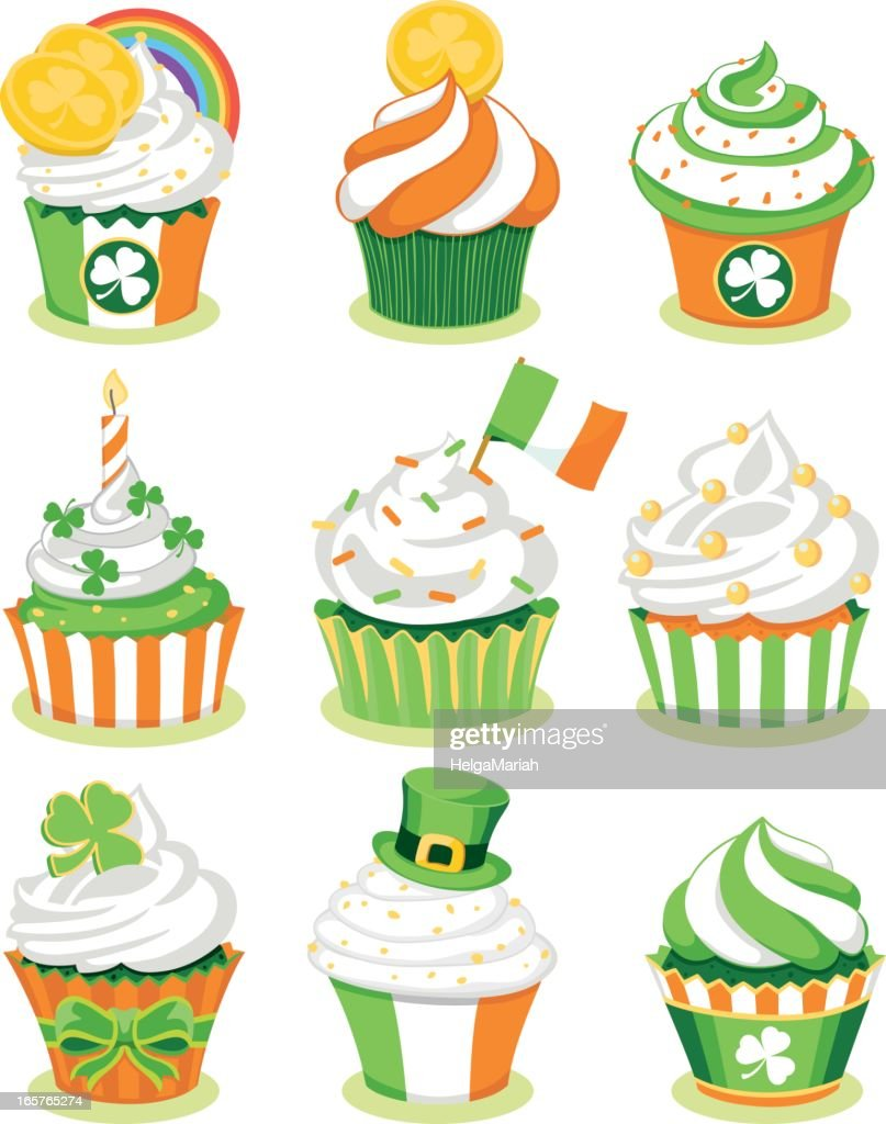 st patricks day irish cupcakes vector art getty images
