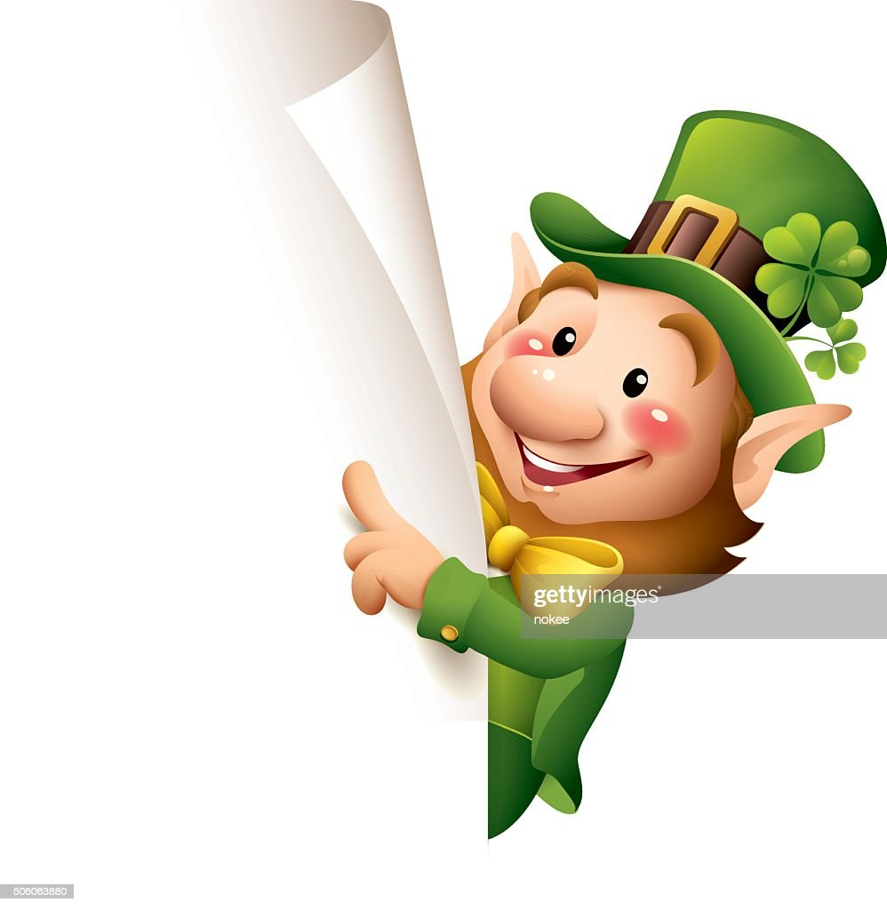 st patricks day leprechaun pointing vector art getty images