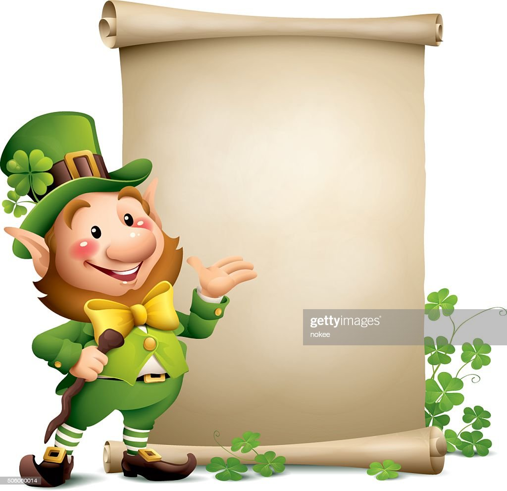 st patricks day leprechaun with paper scroll vector art getty images