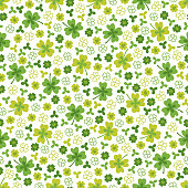 St. Patrick's Day seamless pattern with clover on white background. Perfect for wallpaper, holiday greeting cards, gift paper.