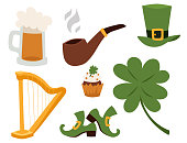 St. Patrick s Day vector icons and leprechaun cartoon style symbols irish traditional decoration design vector illustration. Ireland march holiday.