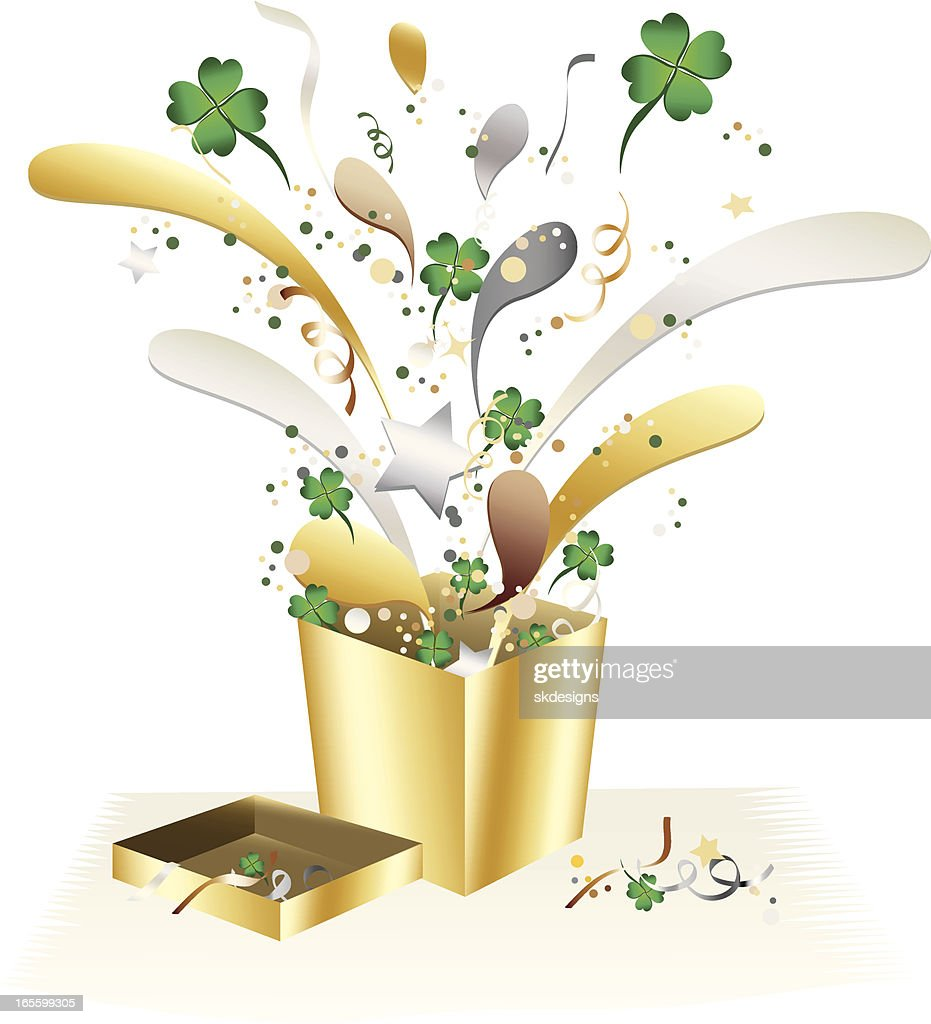 st patricks fourleaf clover gift box and confetti celebration